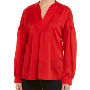 NWT LAUNDRY red Long Sleeve Blouse
